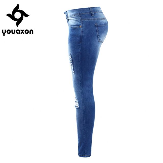 Plus Size Women Ripped Fading True Skinny Distressed Pencil Pants Elegant Modern Denim Jeans