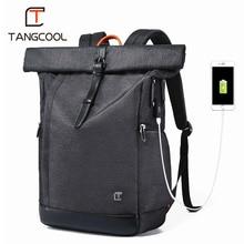 を Tangcool 男性のバックパック 15.6 インチのノートパソコンの USB 大容量ファッション Stundet バックパック撥水リュックサック