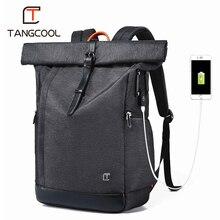 Tangcool Erkekler Sırt Çantası 15.6 inç Laptop USB Sırt Çantası Büyük Kapasiteli Moda Stundet Sırt Çantası Su Geçirmez Sırt Çantası