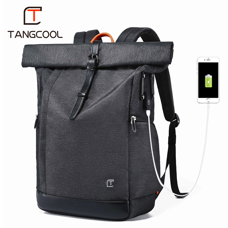Tangcool Men Backpack For 15.6 inches Laptop USB Backpack Large Capacity Fashion Stundet Backpack Water Repellent Rucksack