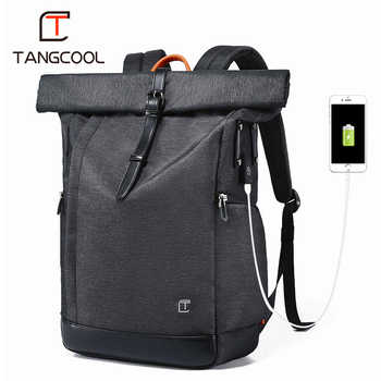 Tangcool Men Backpack For 15.6 inches Laptop USB Backpack Large Capacity Fashion Stundet Backpack Water Repellent Rucksack - DISCOUNT ITEM  49% OFF All Category
