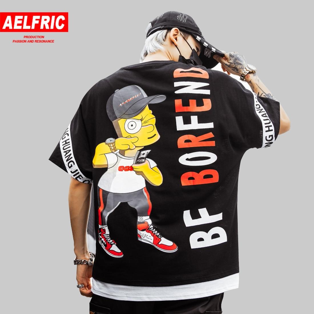 AELFRIC シンプソンプリントストリート Tシャツ男性ヒップホップカジュアル半袖夏パッチワークファッション原宿トップス男性 Tシャツ  グループ上の メンズ服 からの Tシャツ の中 1