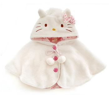 2016 casacos de Moda bebê da menina, olá kitty bebes macio velo manto roupa da criança para meninas cape para outerwear bebê clothing