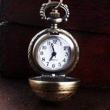 1pc Retro antique Steampunk pocket fob watch classic bronze circular quartz clock hour sweater necklace chain pendant gift H4