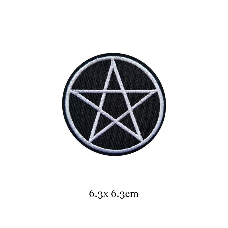 1 шт., черные, белые байкерские нашивки для одежды, железная одежда, аппликация с буквами, Череп, звезда, полосы, вышитая наклейка, круглый значок - Цвет: 16