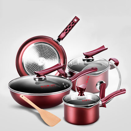 Cookware 4-Piece Set Household Frying Pan Combination Non-stick & Aluminum Alloy Cookware Gas Stove & Induction Stove ApplicableCookware 4-Piece Set Household Frying Pan Combination Non-stick & Aluminum Alloy Cookware Gas Stove & Induction Stove Applicable
