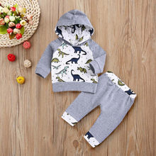 2018 hot baby cartoon dinosaur Infant Baby Boys Girls Cartoon Dinosaur Hooded Tops Pullover Pants Outfits Set(China)