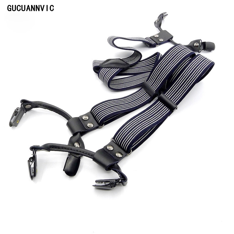 GUCUANNVIC Fashion Black Stripes With Elastic Straps British Style Leather Suspenders Men And Women Braces Clip Selection