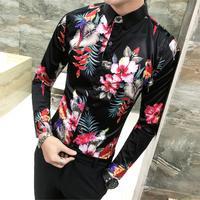 Bird Plant Print Shirt Long Sleeve Men's Chemise Fashion Business Design Fit Dress Shirts Social Casual Camisa Fancy Prom Shirt