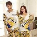 Casais Matching casal Dos Desenhos Animados Outono Algodão Roupas Femininas Em Casa Pijamas Adulto Assecla Pijamas 2 Peça Define Amantes sleepwear