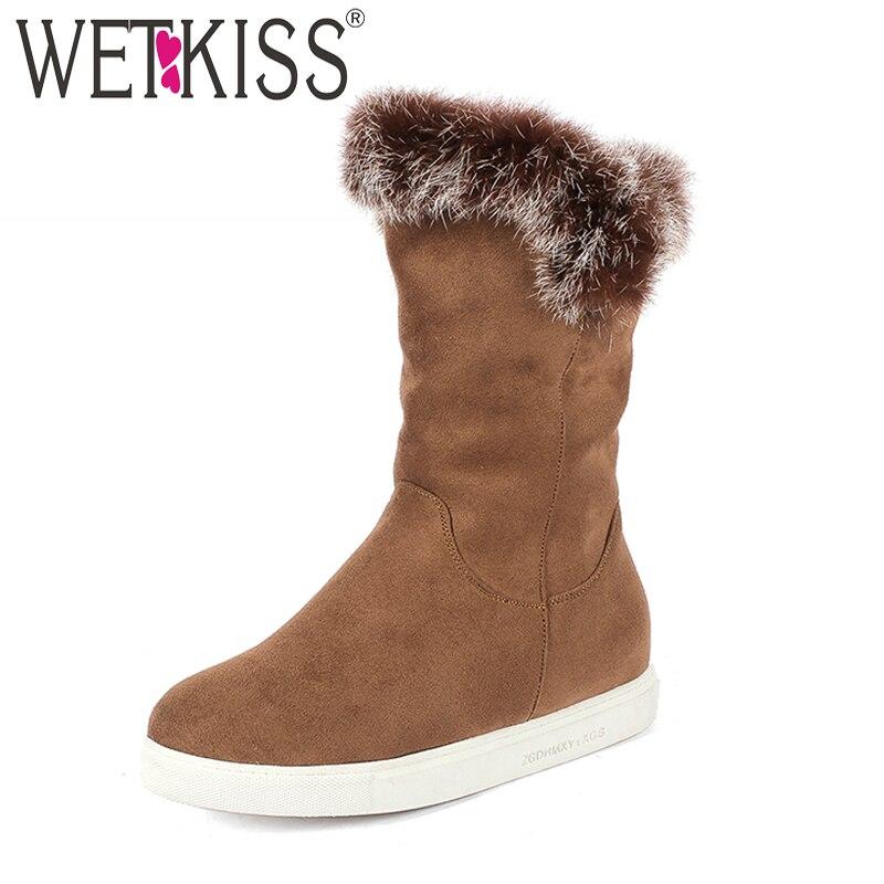 WETKISS/женские зимние ботильоны; обувь из флока с круглым носком; повседневные теплые женские ботинки; обувь с вставкой на платформе; женская о