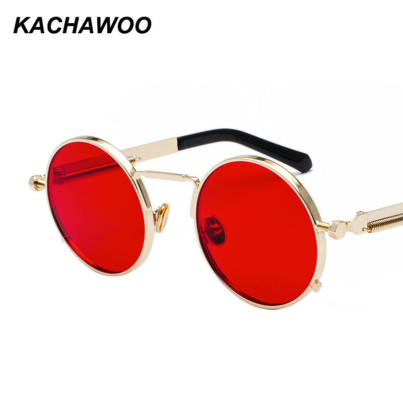 753db8cf6d6 Detail Feedback Questions about Kachawoo round gothic steampunk sunglasses  men red metal frame retro vintage round sun glasses for women summer 2018  UV400 ...