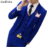 GODLIKE New Design Fashion Men High end Suits Jacket Formal Dress male Suit Set Wedding groom tuxedo (Jacket+Pants+Vest)