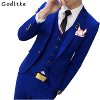 GODLIKE New Design Fashion Men High end Suits Jacket Formal Dress male Suit Set Wedding groom tuxedo (Jacket+Pants+Vest)