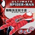 1 PC 24 cm Adulto crianças Spiderman Cosplay Traje adequado, homem-aranha homem Aranha luva lançadores de emissor de brinquedo com caixa de presente