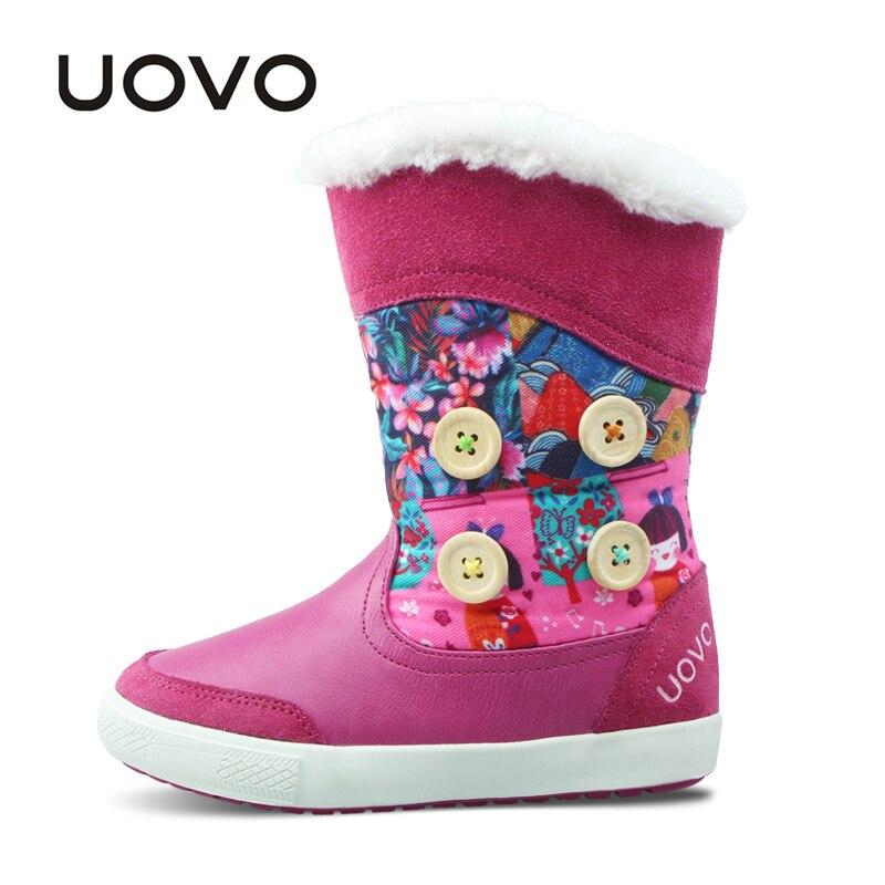 UOVO ботинки для девочек модная детская одежда резиновые сапоги 2018 Новые Теплые зимние детская обувь маленький обувь для девочек до середины ...