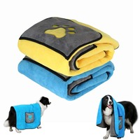 70*100cm Cat Dog Bath Towel With Pockets Absorbent Pet Cleaning Towels Animal Blanket E2S