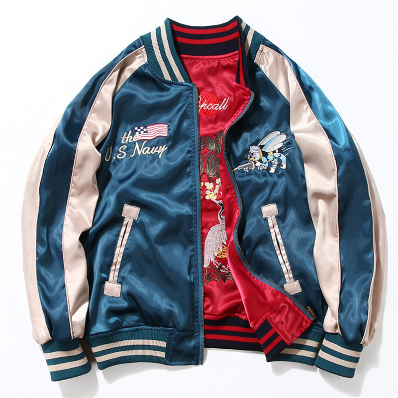 Drop Shipping Two Sides Luxury Embroidery Bomber Jacket Hip Hop Baseball Jacket