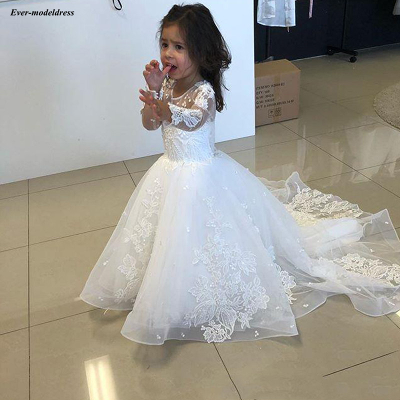 Long Sleeve Tulle A-Line Flower Girls Dresses For Wedding Lace Appliques White First Holy Communion Dresses