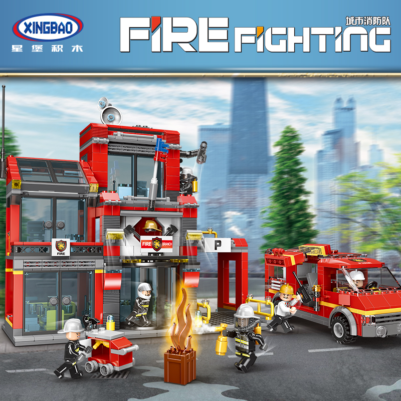 XINGBAO 14006 City Series the Fire Squadron Set Building Blocks Bricks Legoinglys Fire Station Truck Model Toys Christmas Gifts fire granny 2018 11 20t20 00