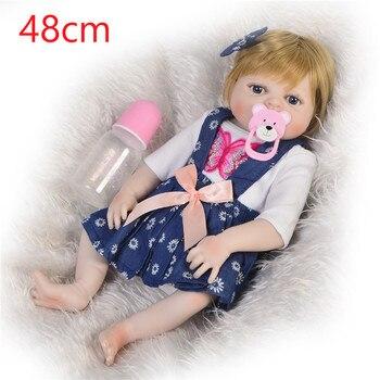 alive blond hair princess doll Silicone vinyl Body Reborn Baby Doll 48cm For Girl Newborn Babies real Bebe Boneca Bathe Toy gift