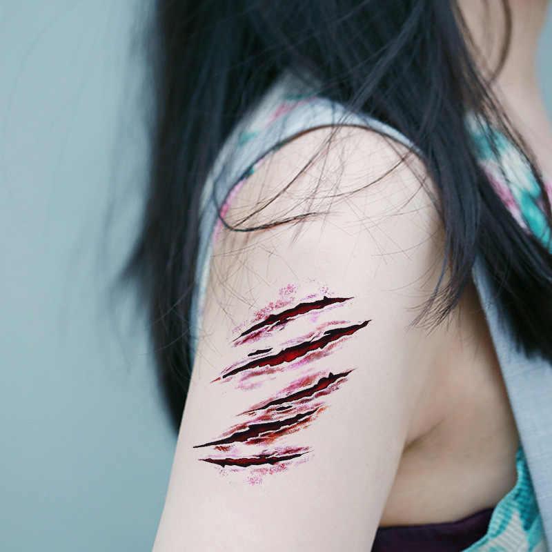10 Pcs/lot Anti-Air Sementara Tato Stiker Halloween Realistis Darah Cedera Scar Tato Bulu Palsu Stiker Darah Stiker