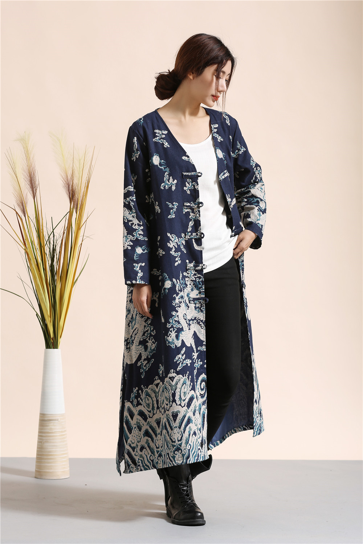 Robes À Robe Manches Hiver Vintage Casual Coupe Lin Coton rouge Style Littéraire Femmes Tranchée Longues Bleu vent yAtq0wqzYc