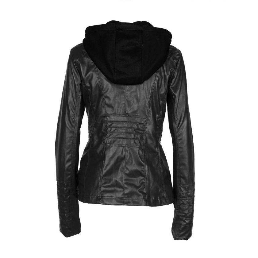 4416f31e0ff SIF Women Slim Leather Jacket Removable Zipper Hooded Coats Outwear Jacket  Zipper Short Coat AGU 26-in Basic Jackets from Women s Clothing on  Aliexpress.com ...
