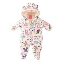 2016 новая Зимняя одежда Милый мультфильм кошки-мышки шаблон детские банни хлопок детская одежда младенца хлопка комбинезон ребенка куртка out