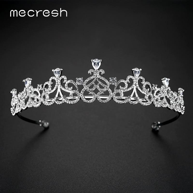 Mecresh Elegant Heart CZ Crown Tiara for Bride Silver Color Rhinestone Crystal Wedding Hair Accessories Romantic Gift MHG086