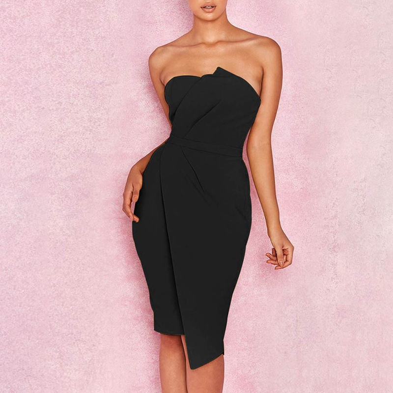 2018 Summer New Fashion Women Sexy Stylish Bodycon Dress Striking Fold Front Asymmetric Tube Top Slim Dresses ...