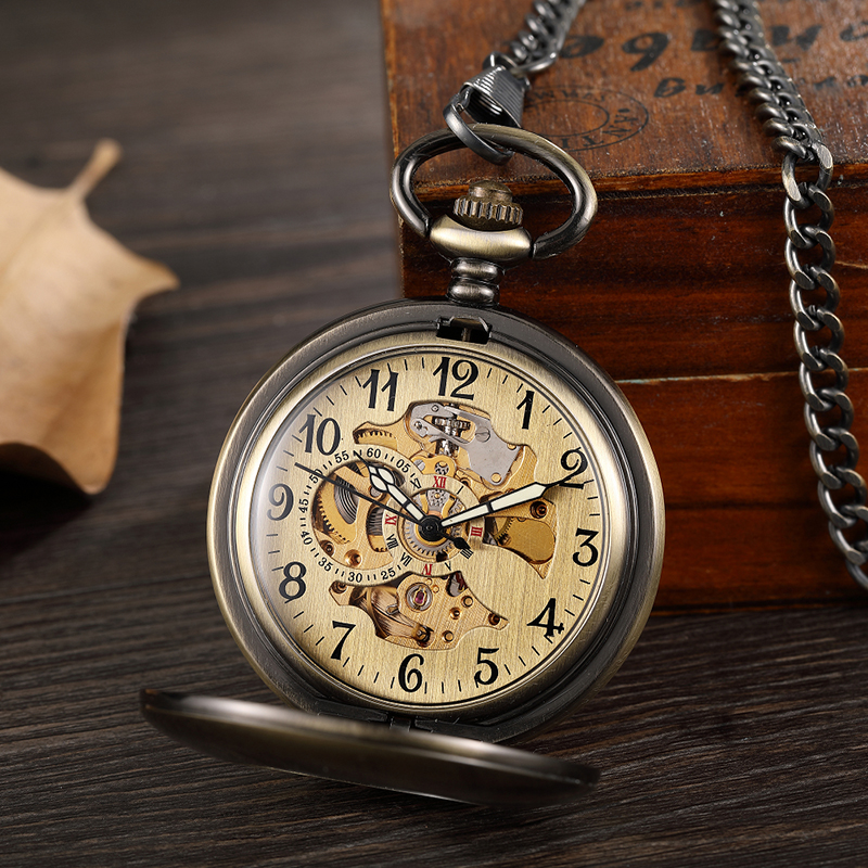 Suave do vintage Oco Mecânica Pocket Watch