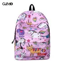 Ou Mo brand teenagers Boys/Girls Cartoon Schoolbag laptop anti theft backpack feminina Women Bag man computer Backpack