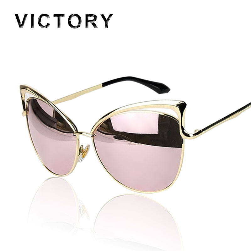 02f3c79620 DETAILS. VictoryLip 2018 Fashion Cat Eye Rose Gold Mirror Sunglasses Women  Brand Designer