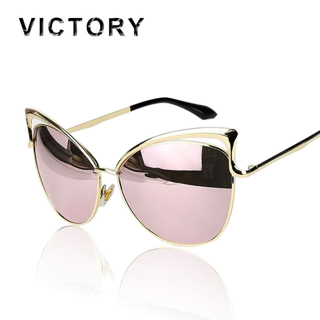 VictoryLip 2017 Fashion Cat Eye Rose Gold Mirror Sunglasses Women Brand Designer Metal Frame Lady Sun Glasses  Cateye Female