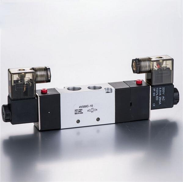 3/8  Double head three position close type airtac solenoid valve 4V330C-10 smc type pneumatic solenoid valve sy5120 3lzd 01