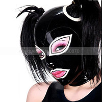 Black and White Female Sexy Latex Hood with Double Ponytails Holes (no hair) S LM004