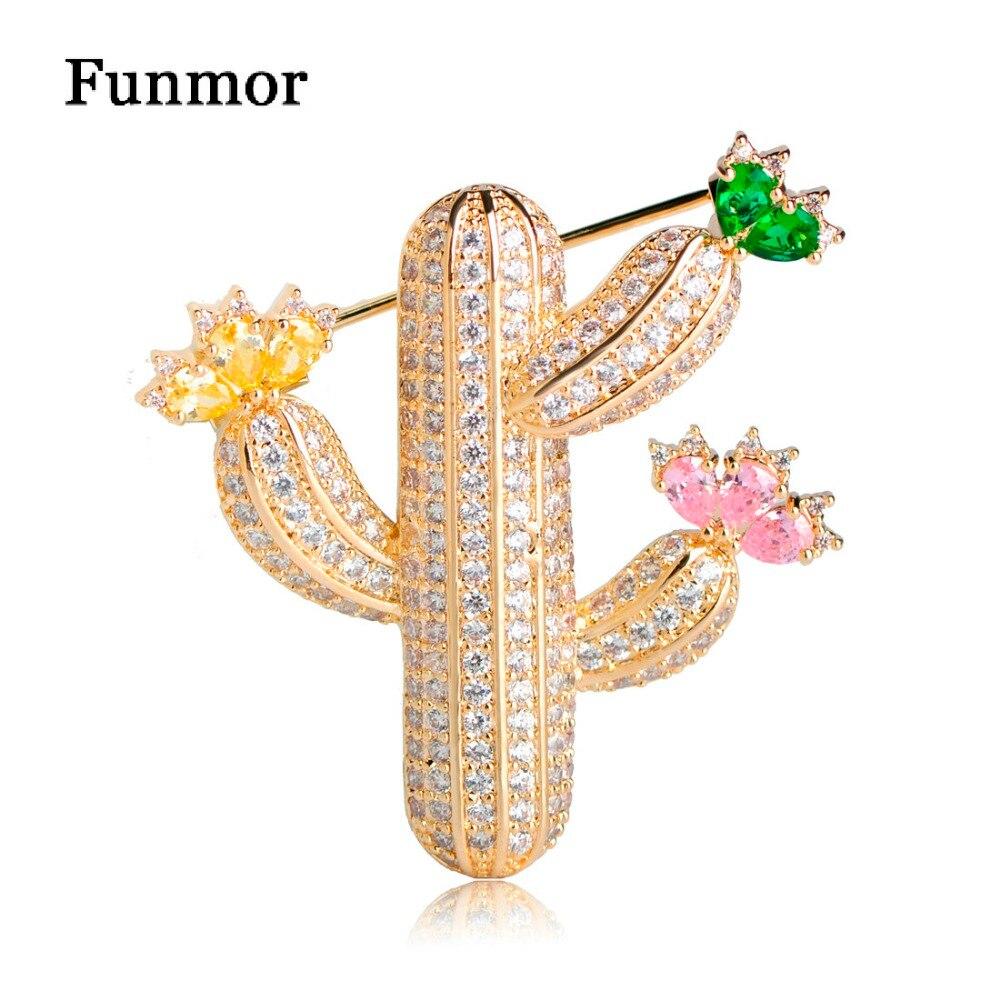 Funmor Micro Pave CZ flor de Cactus broches para niños señora cobre planta traje ramillete bufanda vestido decoración Harajuku insignia