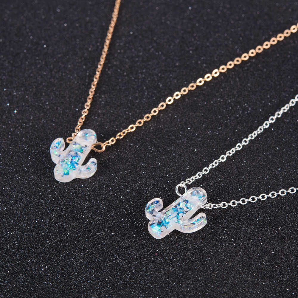 Opal Stone Cactus Necklaces Pendants Women Natural Plant Jewelry Gold Chain Choker Necklace Birthday Gifts joyería mujer cadenas