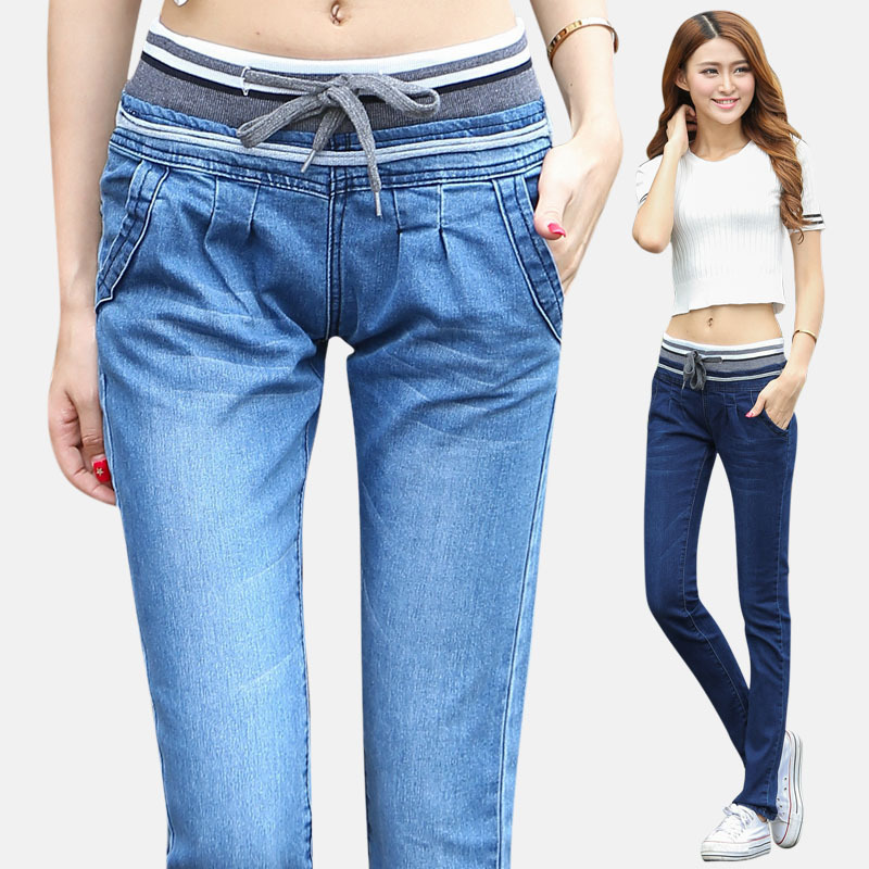 The new Haren all-match jeans pants female elastic waist jeans manufacturers selling one generation