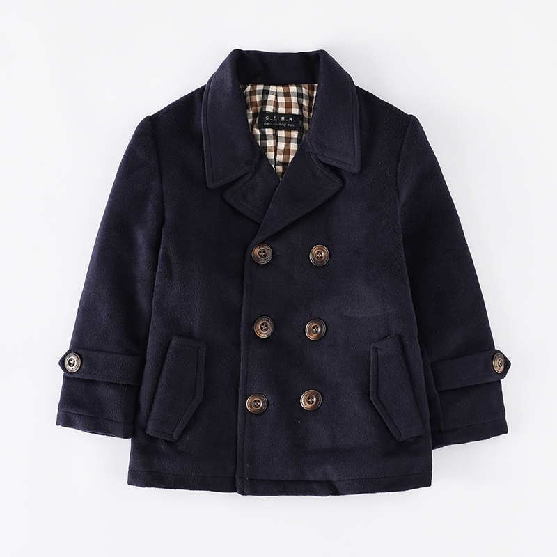 New autumn winter teenage boys outerwear solid woolen jacket for children's cotton trench turn-down collar tops kids clothes