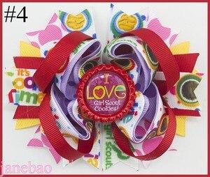 Image 4 - Freies verschiffen 12 stücke Mädchen Scout haar bogen Mädchen Scout haar zubehör cookies haar bogen brownies daisys mädchen haar clips