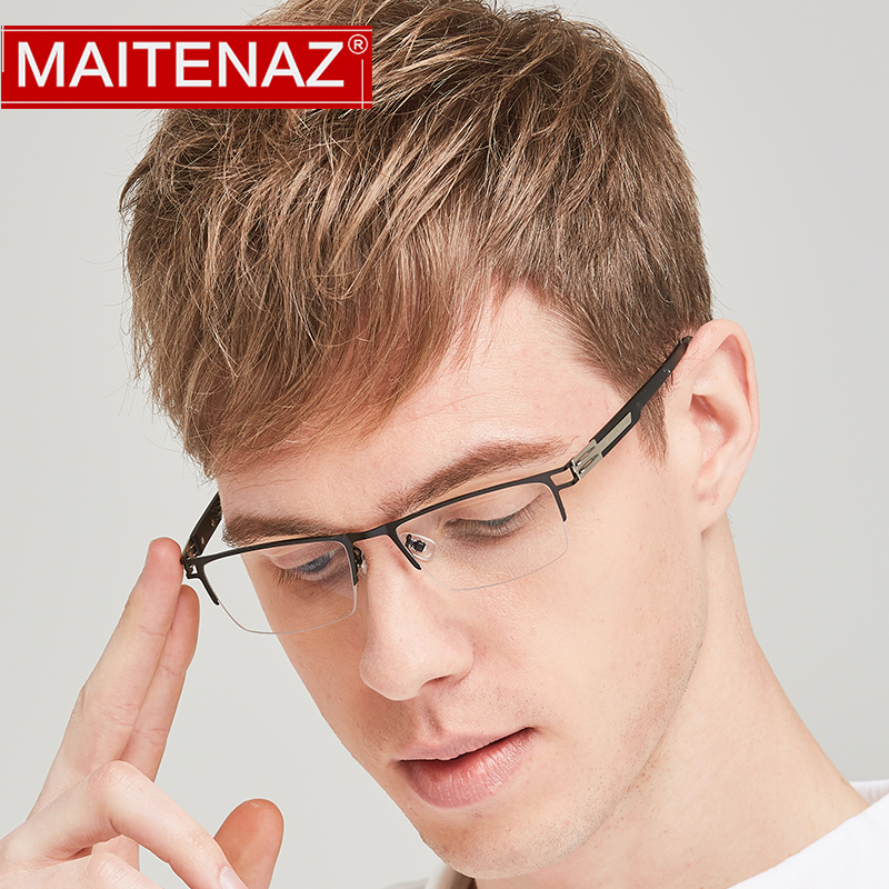 MAITENAZ Ultralight Alloy TR90 Prescription Eyeglasses Myopia Hyperopia Progressive Business  Men Half Spectacle Frame 1122(China)