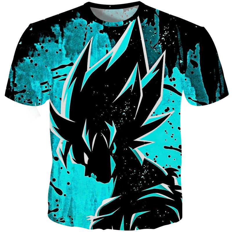 Cloudstyle 2019 летняя футболка Для мужчин 3D принт Dragon Ball Гоку футболка хип-хоп Уличная Slim Fit Футболки мужской синий черный футболка