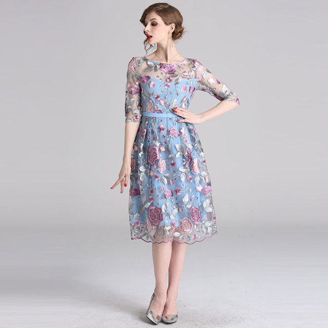 Women Party Dresses New 2019 Spring Sweet Style Luxury Floral Embroidery  Elegant A,line Female Casual Dress
