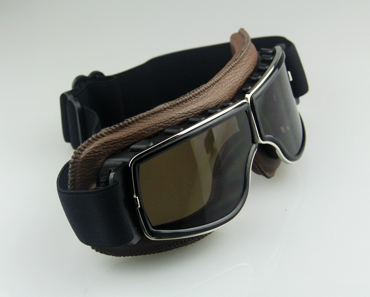 53241ff618bf Freen shipping Cross country Pilot Cruiser Motorcycle Bike Tactical ATV Goggle  Aviator Eyewear Genuine leather Brown Lens-in Motorcycle Glasses from ...