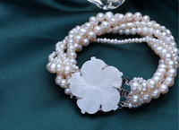 Wedding Woman Jewelry 100 Real Natural White Pearl Multilayer Bracelet Flower Clasp 18cm 7inch