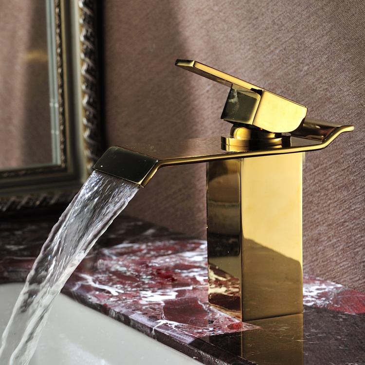 Square Modern Waterfall One Hole Bathroom Sink Faucet mixer Tap Gold Free Ship