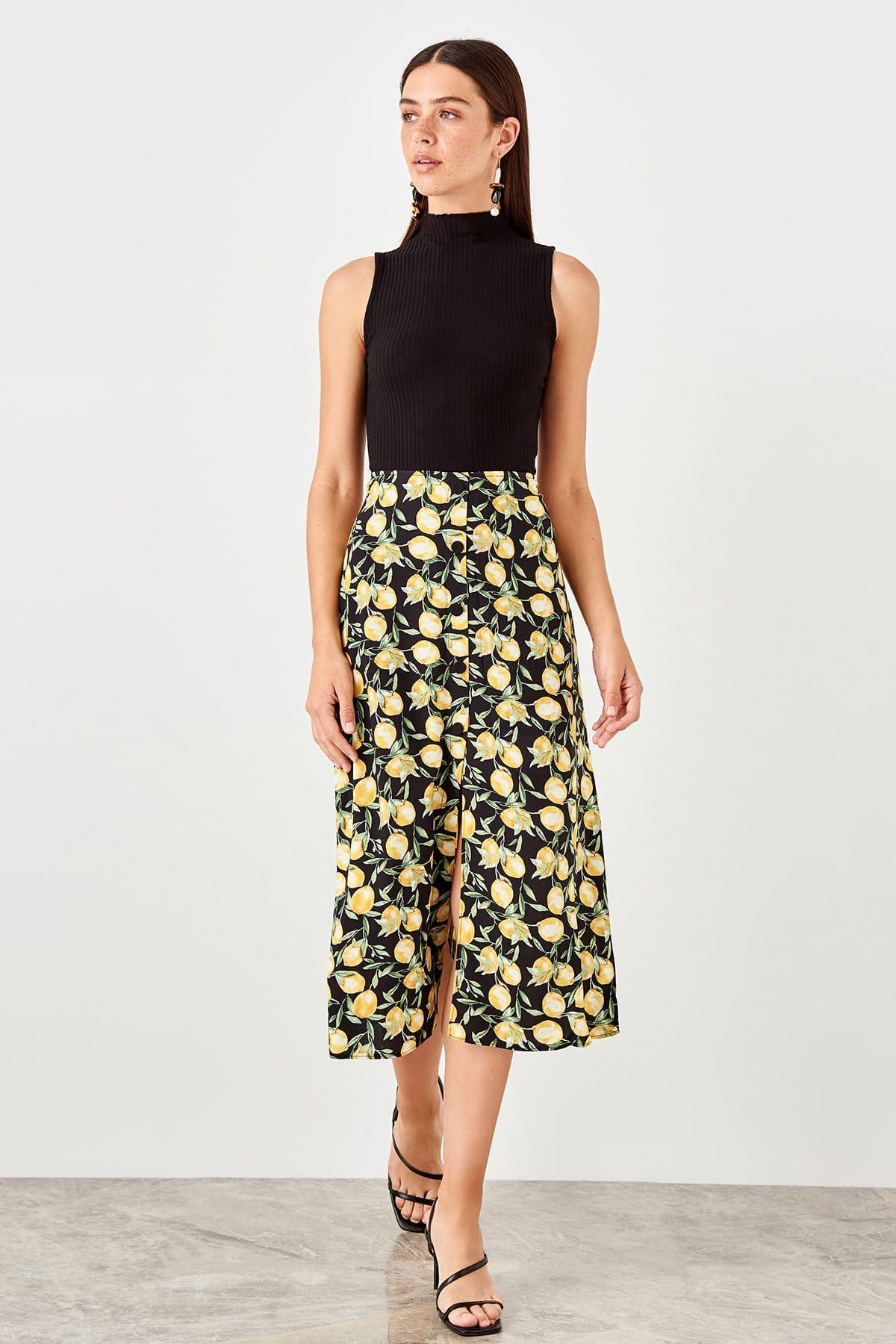 Trendyol Multicolour Lemon Print Skirt TWOSS19LJ0366