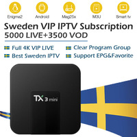 Sweden IPTV TX3Mini 16g rom Android TV Box 7.1+Nordic Russian Spain Germany Arabic iptv Smart TV Box 5000 vip live free vod